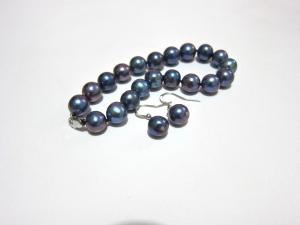 Natural blue-turquoise bracelet, drop ear-rings set