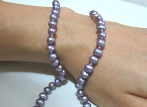 Lavender necklace with drop ear-rings set