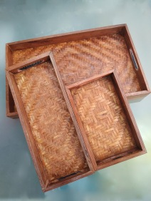 Wooden and bamboo trays